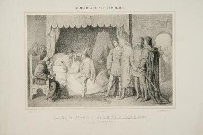 Sancho IV revela en Madrid a Don Juan Manuel la causa de su muerte - Litografía