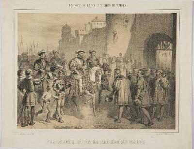 Francisco I entra prisionero en Madrid - Litografía