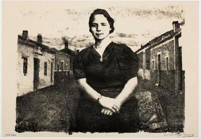 La madre ante casas de pueblo - Estampa