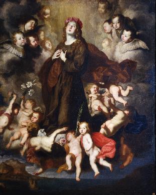 Santa Rosalía de Palermo en gloria. - Cuadro