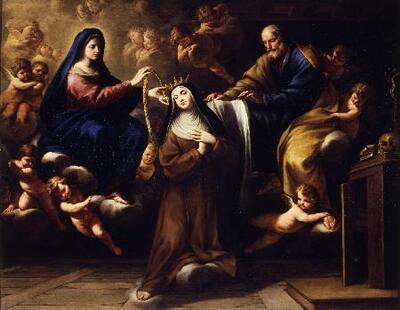 Santa Teresa con la Virgen y San José - Cuadro