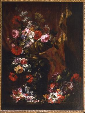 Florero sobre una cortina - Cuadro