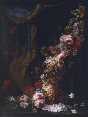 Guirnalda de flores y cortina - Cuadro