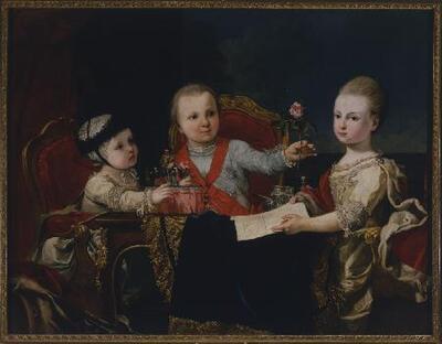 Tres príncipes niños, hijos de don Fernando de Borbón, duque de Parma - Cuadro