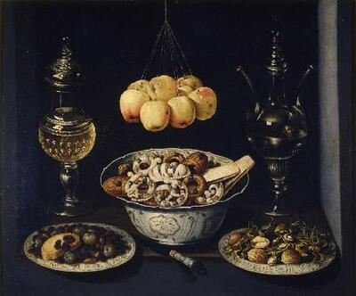 Bodegón (con dulce, vidrios y manzanas) - Cuadro