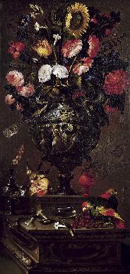 Bodegón con girasol y otras flores, pájaros, frutas e insectos en un plinto de piedra - Cuadro