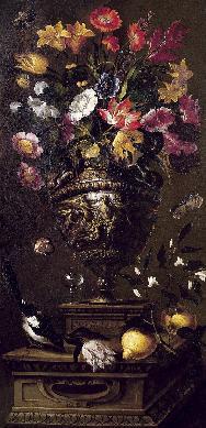 Bodegón con flores, pájaros, frutas e insectos en un plinto de piedra - Cuadro