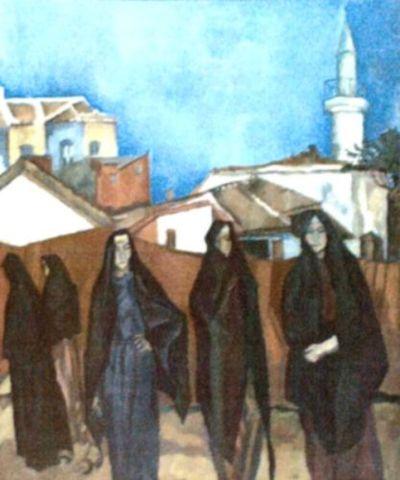 Peisaj dobrogean cu cinci turcoaice