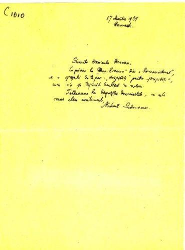 """M. Sadoveanu către I. Breazu despre un articol din """"Semănătorul"""""""