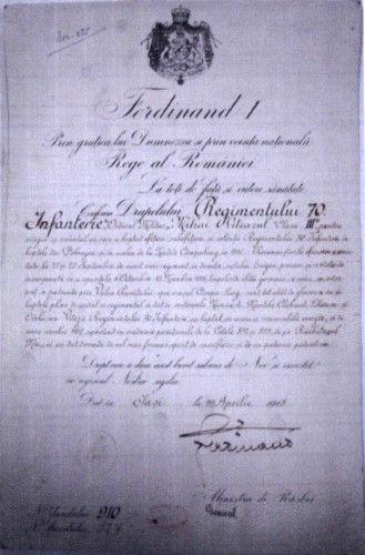 Brevet de decorare cu Ordinul Mihai Viteazul cls III-a