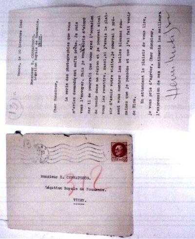 Scrisoarea pictorului Henri Matisse adresată lui Eugen Cernătescu