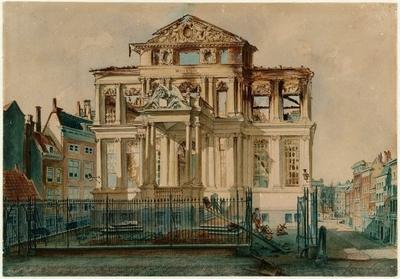Aquarel van Het Schielandshuis na de brand van 18 februari 1864