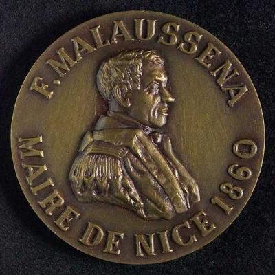Penning op F. Malaussena, burgemeester van Nice, 1860, in groen doosje