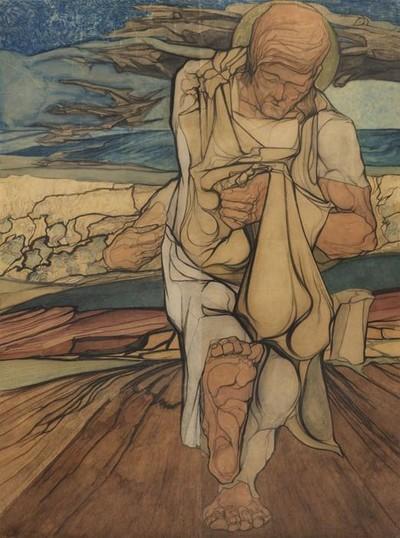 """Monumentale tekening / aquarel, geplakt op doek, in twee delen: """"De Zaaier"""""""