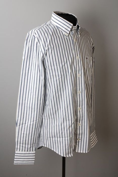 Blouse, merk Tommy Hilfiger, verticaal gestreept in kleuren wit en blauw, maat L, slim fit model