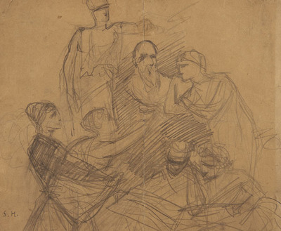 Sketch of Seven Figures Seated and Standing