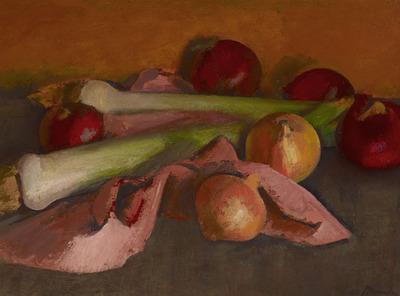 Still Life, Onions and Leeks
