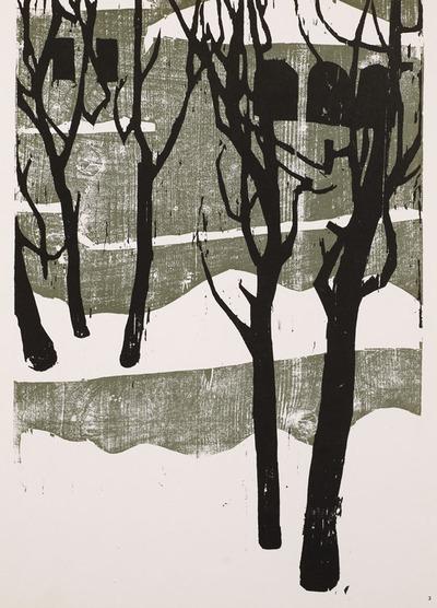 Ten Woodcuts Portfolio, 3 of 10, Snow in Jerusalem