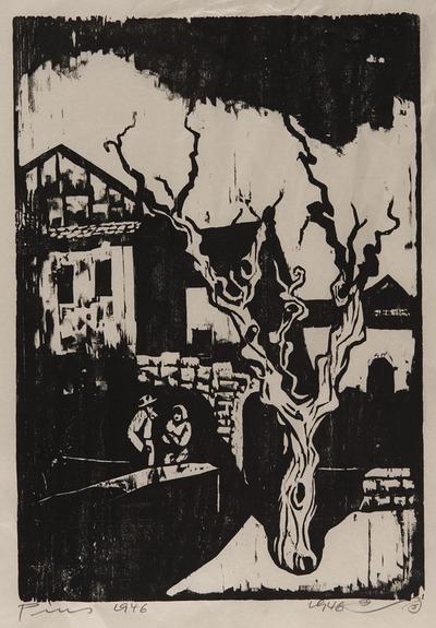 Untitled (Village Scene with Tree)