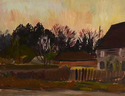 Village Scene with Setting Sun