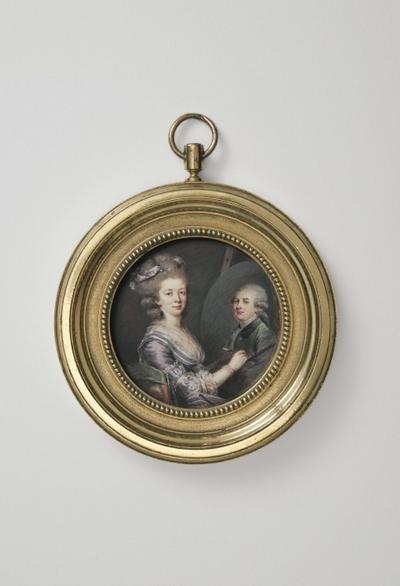 Madame Lefranc målande porträttet av sin make Charles Lefranc