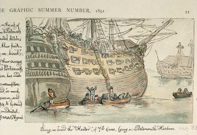 Image from object titled Going on board the Hector of 74 guns, lying in Portsmouth Harbour (caricature)