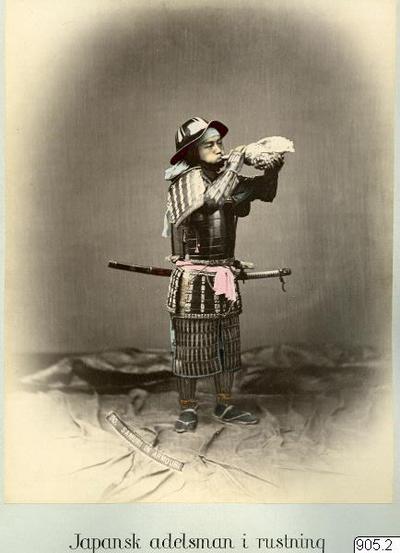 snäcktrumpet, svärd, samuraj, fotografi, photograph