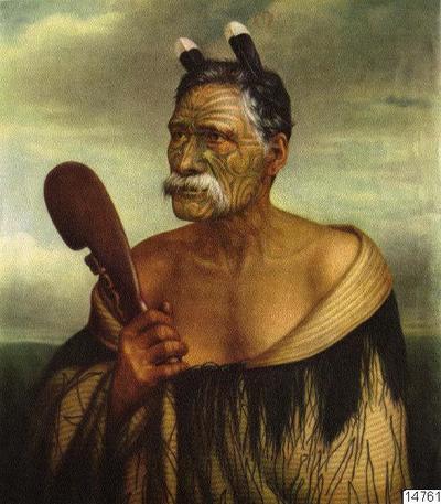 Kewene Te Haho. Nya Zeeland. Målning av Gottfried Lindauer, Auckland Art Gallery. Färgtryck. Foto erhållet 1961 av K.E. Larsson. (katalogkort); 014761; Nya Zeeland; Oceanien