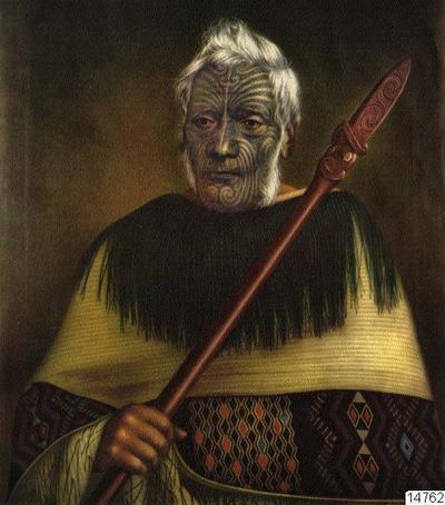 Anehana. Målning av Gottfried Lindauer, Auckland Art Gallery. Färgtryck. Foto erhållet 1961 av K.E. Larsson i Auckland. (katalogkort); 014762; Nya Zeeland; Oceanien