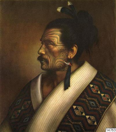 Te Hau-Takiri Wharepapa. Nya Zeeland. Målning av Gottfried Lindauer, Auckland Art Gallery. Färgtryck. Foto erhållet 1961 av K.E. Larsson. (katalogkort); 014763; Nya Zeeland; Oceanien