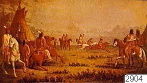 """Indiansk hästkapplöpning (foto), målad av Paul Kane. Prärieområdet. Ur publ. Rachlis, E.:Praerieindianerne, Köpenhamn 1960. För utställningen """"Indianernas Vilda Västern"""" i Kronhuset 1975.; 2904D; Nordamerika; Prärien;..."""