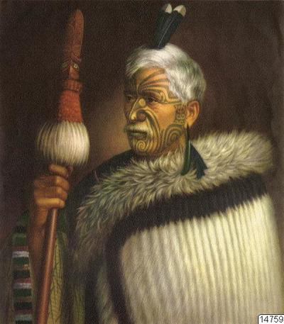 Te Hira Te Kawau. Nya Zeeland. Målning av Gottfried Lindauer, Auckland Art Gallery. Färgtryck. Foto erhållet 1961 av K.E. Larsson i Auckland. (katalogkort); 014759; Nya Zeeland; Oceanien
