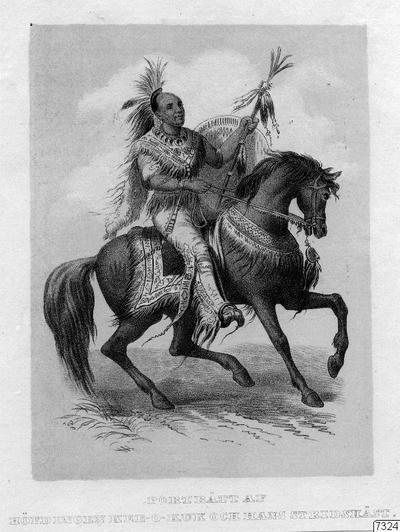 Motiv: Hövdingen Kee-o-kuk (Kih-o-kuk) och hans vackra stridshäst. /Boktryck/. Stam: Foxes. Lokal: Des Moines-floden, nära Mississippi-R., Nordamerika. Publ.: Jfr. bild vid sid. 234 och text på sid. 233-234 i...