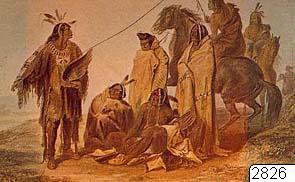 """Teckning av Bodmer 1833. Tre män i buffelmantlar. Ur Oliver La Farge: The American Indian, special edition for young readers, New York 1969, sid 121. För utställningen """"Indianernas Vilda Västern"""" i Kronhuset 1975.; 2826D;..."""