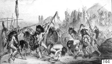 Bixou-dans hos Mandau-indianer. Stick av Alex Manceau efter målning av Bodmer. Ill. s. 68 (med förklarande text) i Hermann Dengler: Indianer. Stuttgart, u. å. Bildark: 12.296. Neg. nr: 7014.; 012296