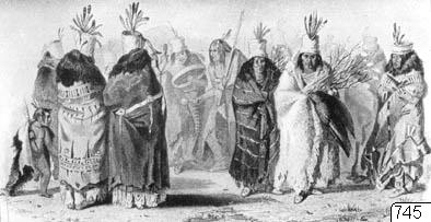 Den visa bisonkons dans. Mandauskt kvinno- sällskap dansar. Efter Bodmer. Ill. p. 69 i Hermann Dengler: Indianer. Stuttgart, u. å. Bildark: 12.296. Neg. nr: 7015.; 012296b