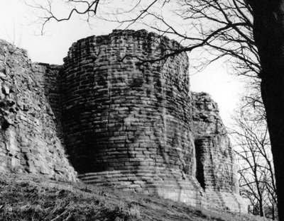A view of Pontefract Castle keep in winter, seen from the moat.