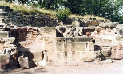 The kitchens at Pontefract Castle. This photograph shows the ovens.