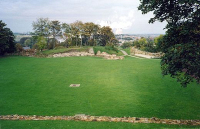 The bailey at Pontefract Castle. This photograph was taken from the top of the keep.