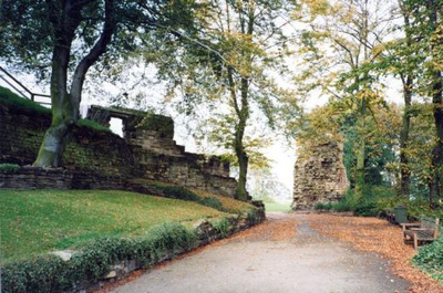 The entrance path at Pontefract Castle.
