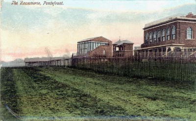 A tinted postcard of Pontefract Race Course.