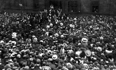 """King George the Fifth and Queen Mary visited Wakefield on 10th July 1912, during their tour of the industrial north. The caption to this photograph reads """"Proclaiming the King in Wakefield""""."""