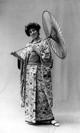 This photograph of a woman in Japanese costume was taken by Wilson's of Wakefield and was sent as a Christmas card in 1914.