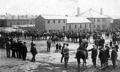 The Queen's Own Yorkshire Dragoons mobilizing for war in August 1914.