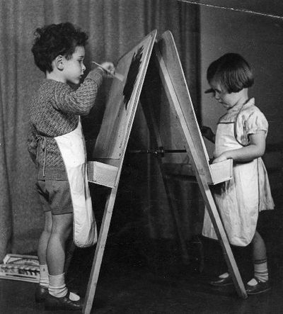 Unidentified children painting.