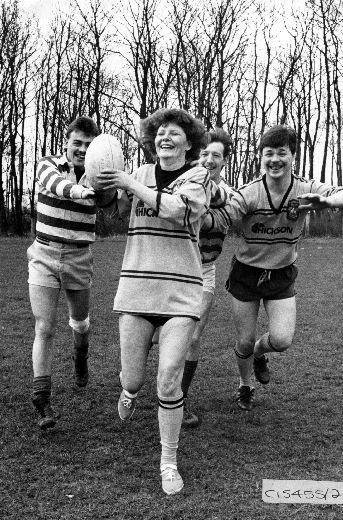 Image from object titled A press photograph of a fun Rugby League game at Ferry Fryston in aid of Comic Relief. Photograph courtesy of the Pontefract and Castleford Express.