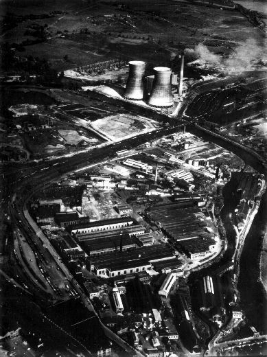Image from object titled An aerial view of Green's Economiser Works, with Stennard Island to the right and the power station at the top.