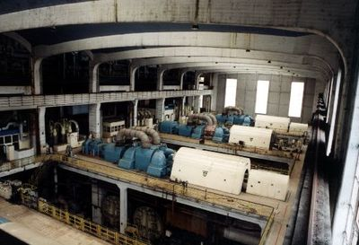 Image from object titled Turbines in the generator hall at Wakefield Power Station.