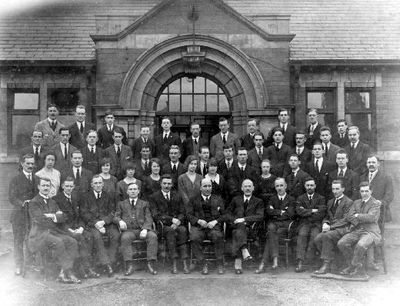 Image from object titled Office staff at Glass Houghton Colliery around 1920.