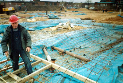 Working on the foundations. One of a series of photographs taken by Mr Kite, recording the construction of West End School, Hemsworth in 1995-6.